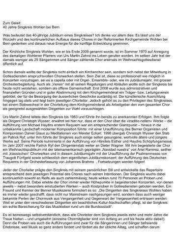 40 Jahre Singkreis Wohlen bei Bern Was bedeutet ... - Konzerte Bern