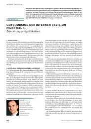 Outsourcing der internen Revision einer Bank - Entris Audit