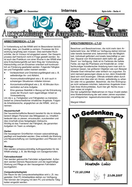 Die Vereinszeitung der Sozialpsychiatrischen Initiative ... - Spix eV