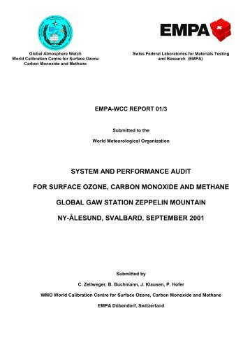 SYSTEM AND PERFORMANCE AUDIT FOR SURFACE ... - Empa