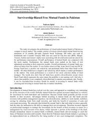 Survivorship-Biased Free Mutual Funds in Pakistan - EuroJournals