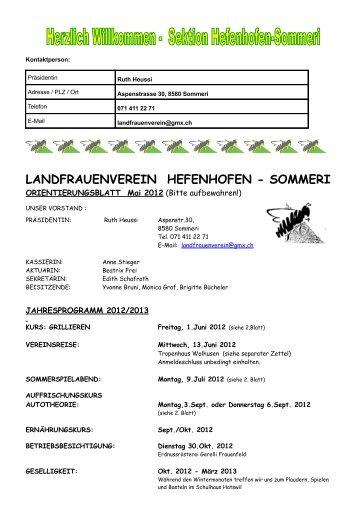 LANDFRAUENVEREIN HEFENHOFEN - SOMMERI - Thurgauer ...