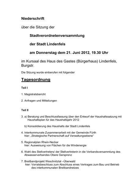 Tagesordnung - Lindenfels
