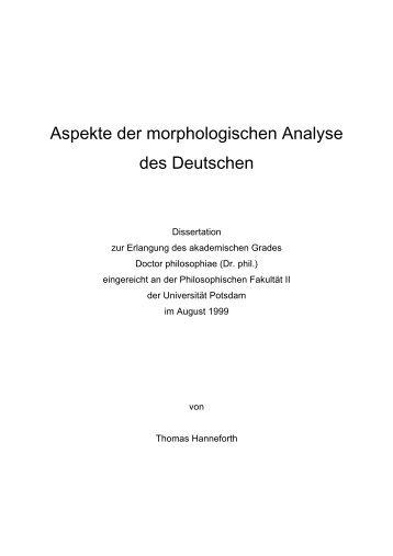 Aspekte der morphologischen Analyse des Deutschen - Universität ...