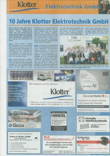 10 Jahre ~Klotter Elektrotechnik  GmbH