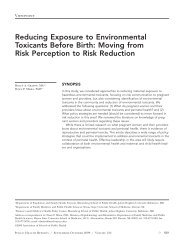 Reducing Exposure to Environmental Toxicants Before Birth: Moving ...