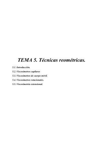 TEMA 5. Técnicas reométricas. - RUA