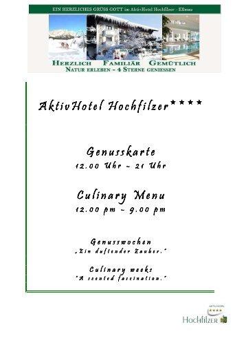Winter Genusswochen AktivHotel Hochfilzer