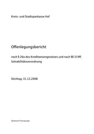 Offenlegungsbericht KSSK Hof 2008 - Sparkasse Hochfranken