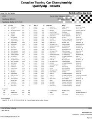 Canadian Touring Car Championship Qualifying - Results