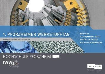 Einladungsflyer 1. Pforzheimer Werkstofftag - Hochschule Pforzheim
