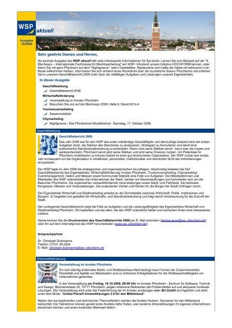 WSP aktuell, Ausgabe Oktober 2009 - Wirtschaft und Stadtmarketing ...