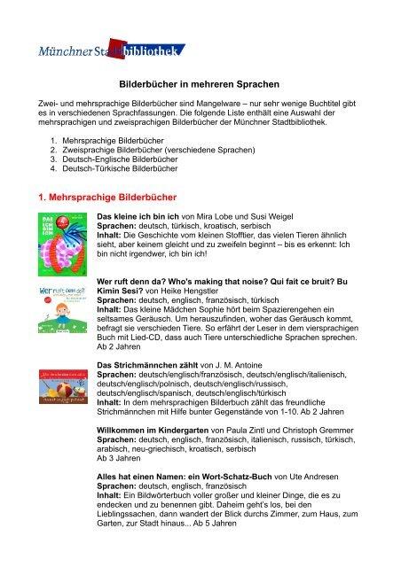 Bilderbucher In Mehreren Sprachen Munchner Stadtbibliothek