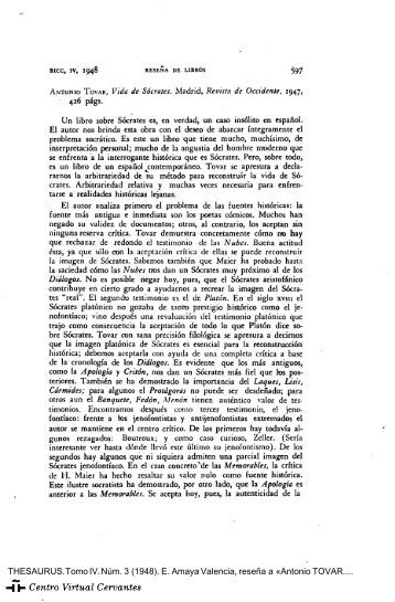Antonio Tovar. Vida de Sócrates - Centro Virtual Cervantes