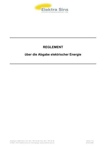 REGLEMENT über die Abgabe elektrischer Energie - Elektra Sins