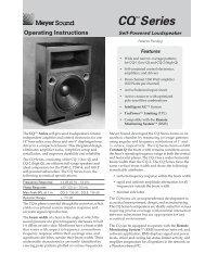 Operating Instructions CQ Series - Meyer Sound Laboratories Inc.