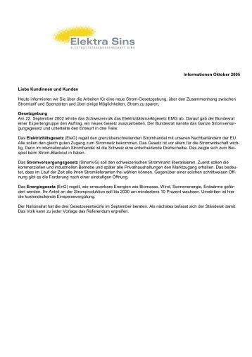 Informationen Oktober 2005 Liebe Kundinnen und ... - Elektra Sins