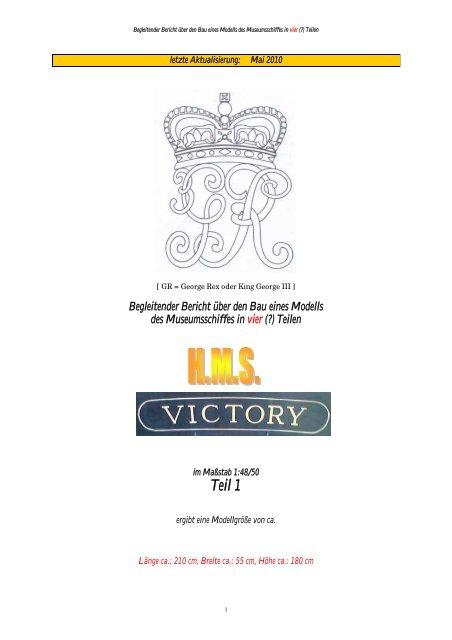 HMS Victory Hohes Namensschild mit zusätzlichen Daten für Modellständer
