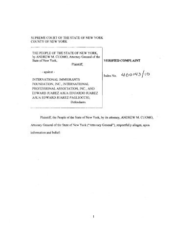 Web Consumer Complaint Form - New York Attorney General