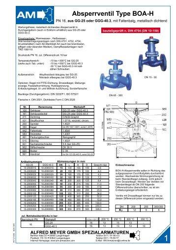 Absperrventil Type BOA-H - Alfred Meyer GmbH