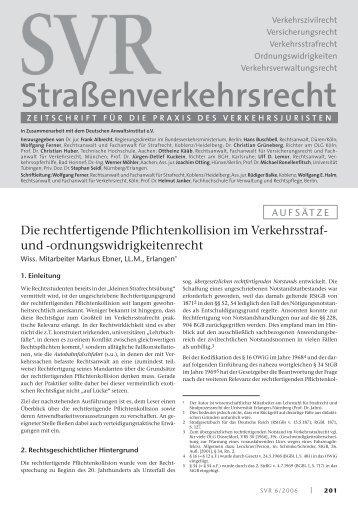 Die rechtfertigende Pflichtenkollision im Verkehrsstraf - SVR