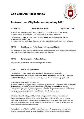 Protokoll der Mitgliederversammlung vom 11.04.2011 - Jura Golf Park