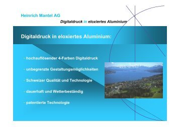 Digitaldruck in eloxiertes Aluminium: - Mantel Digital AG