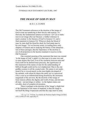 THE IMAGE OF GOD IN MAN - Tyndale House