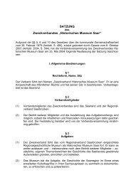 Satzung des Zweckverbandes Historisches Museum Saar