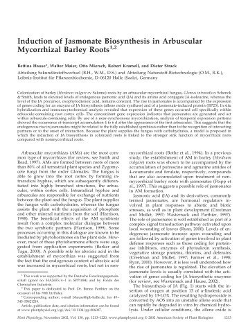 Induction of Jasmonate Biosynthesis in ... - Plant Physiology