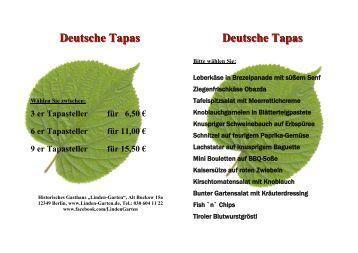 Deutsche Tapas Deutsche Tapas - im Restaurant Linden-Garten
