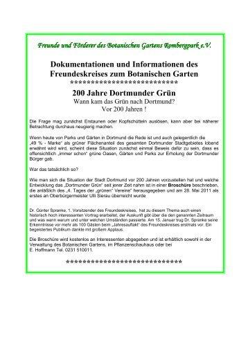 Freunde und Förderer des Botanischen Gartens Rombergpark eV ...