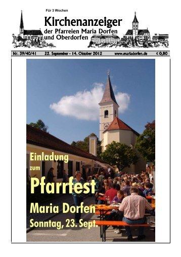Kirchenanzeiger 22. September - Pfarrverband Dorfen