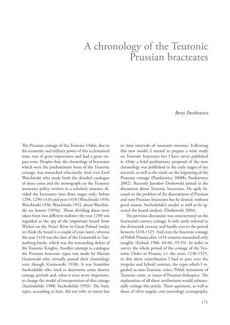 A chronology of the Teutonic Prussian bracteates