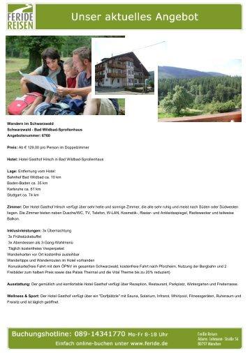 Aktuelles Angebot: Wandern im Schwarzwald