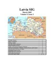 Latvia SIG March 2005 Volume 9, Issue 2 - JewishGen