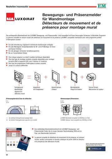 fonctionnement des d tecteurs de mouvement et de swisslux ag. Black Bedroom Furniture Sets. Home Design Ideas