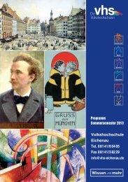 Volkshochschule Eichenau Tel. 08141/80405 Fax ... - VHS Eichenau