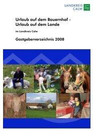 Urlaub auf dem Bauernhof - Landkreis Calw