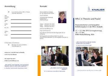Flyer HPLC Kurs Theorie und Praxis Mai 2012