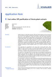 Application Note Fast online SPE purification of Stevia plant extracts