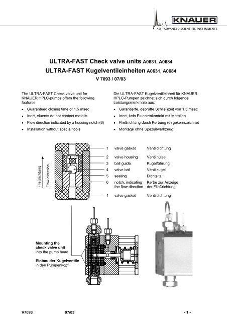 ULTRA-FAST Check valve units A0631, A0684 ULTRA     - KNAUER