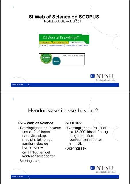 En introduksjon til ISI Web of Science og - NTNU