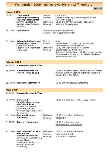 Wanderplan 2009 - Schwarzwaldverein Löffingen e.V.