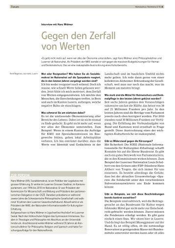 Gegen den Zerfall von Werten - Schweizer Heimatschutz