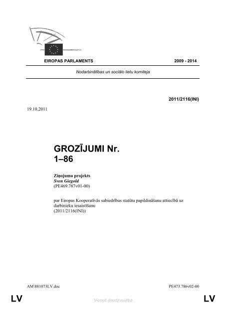 LV LV GROZĪJUMI Nr. - Eiropas Parlaments