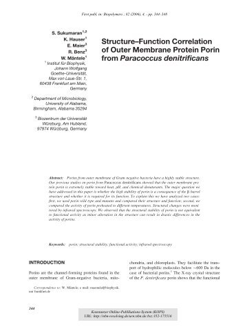 Structure–Function Correlation of Outer Membrane Protein Porin ...