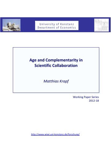 Age and Complementarity in Scientific Collaboration Matthias Krapf