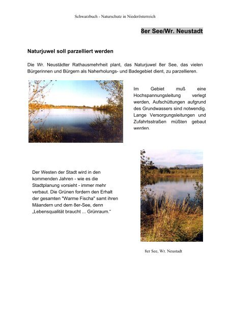 Schwarzbuch der Natursünden in Niederösterreich, 1999 - PRB