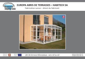 EUROPA ABRIS DE TERRASSES – HABITECH SA - Abri de piscine
